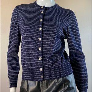ESCADA Blue-Metallic Silver Button Front Cardigan